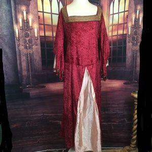 Red Medieval Dress  Costume Velvet Maxi XL